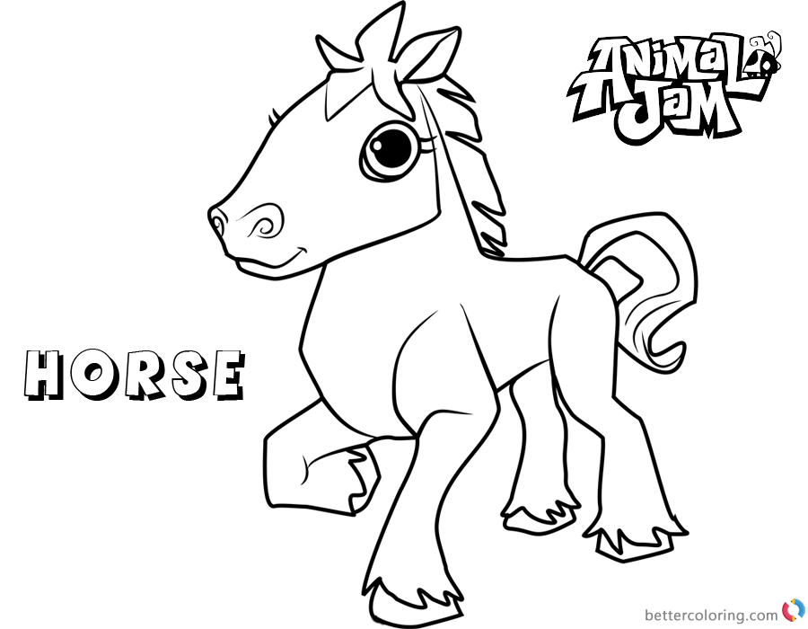Animal Jam Coloring Pages Horse printable