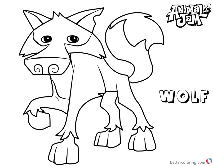 Animal Jam Coloring Pages Wolf printable