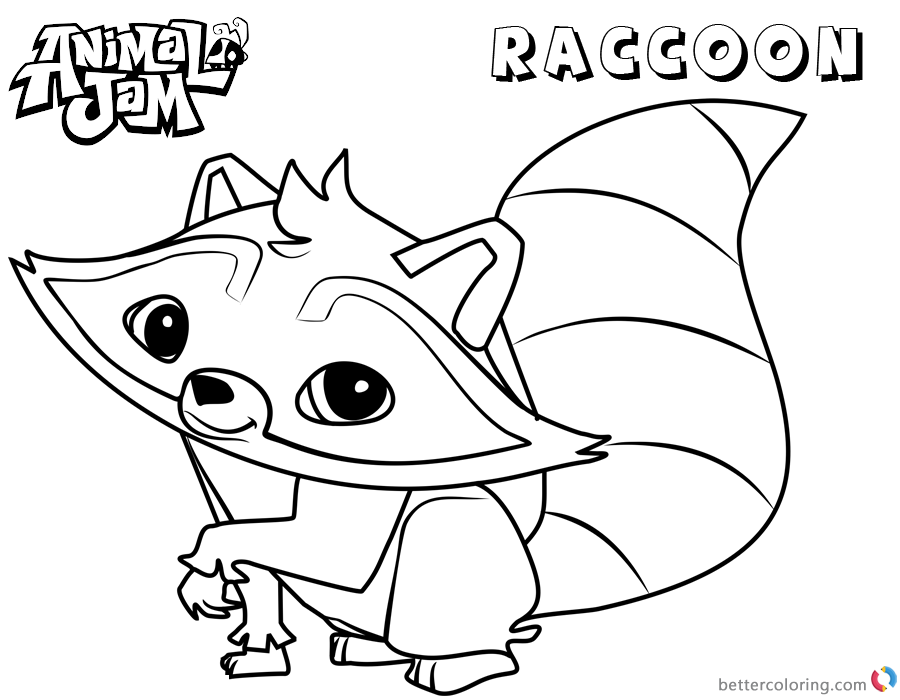 Animal Jam Coloring Pages raccoon - Free Printable ...