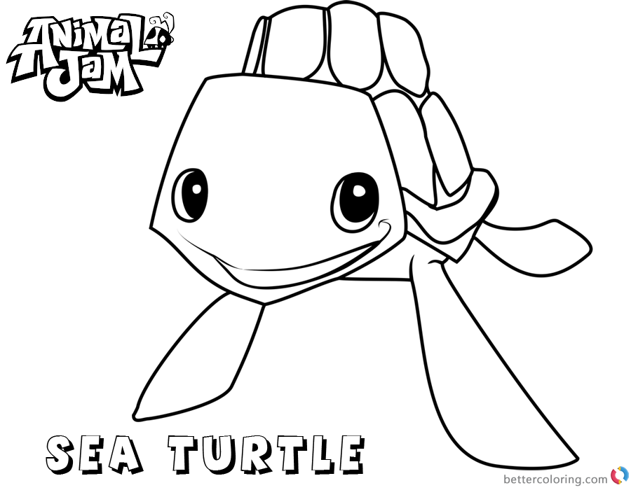 Animal Jam Coloring Pages Sea Turtle Free Printable