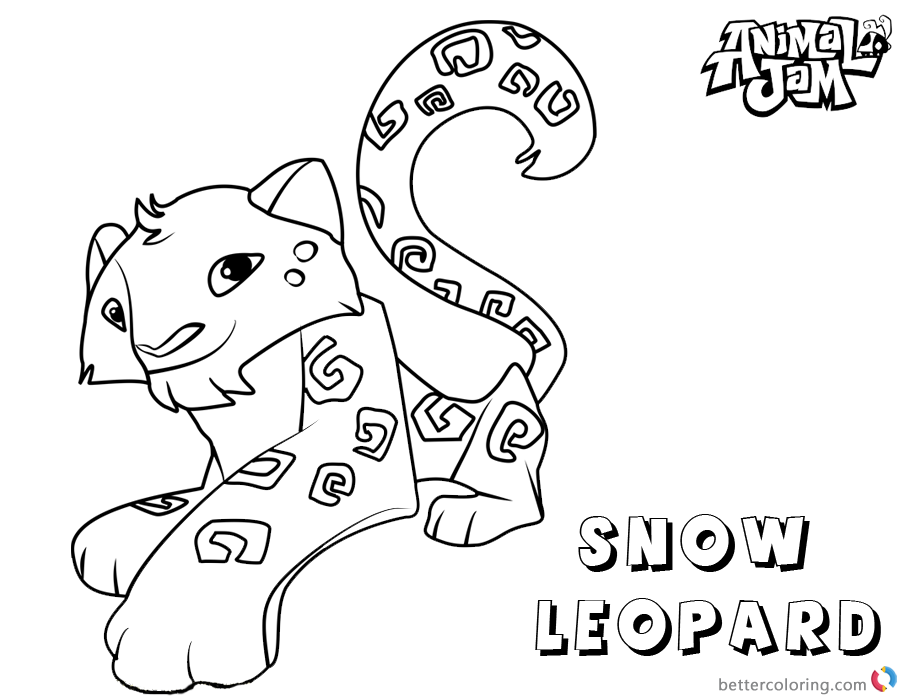 Animal Jam Coloring Pages snow leopard - Free Printable Coloring Pages