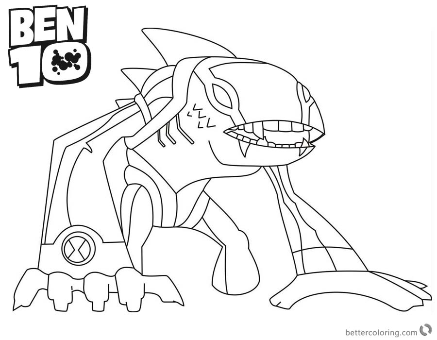 free ben 10 coloring pages alien force | Arctiguana from Ben 10 Coloring Pages Alien Force - Free ...