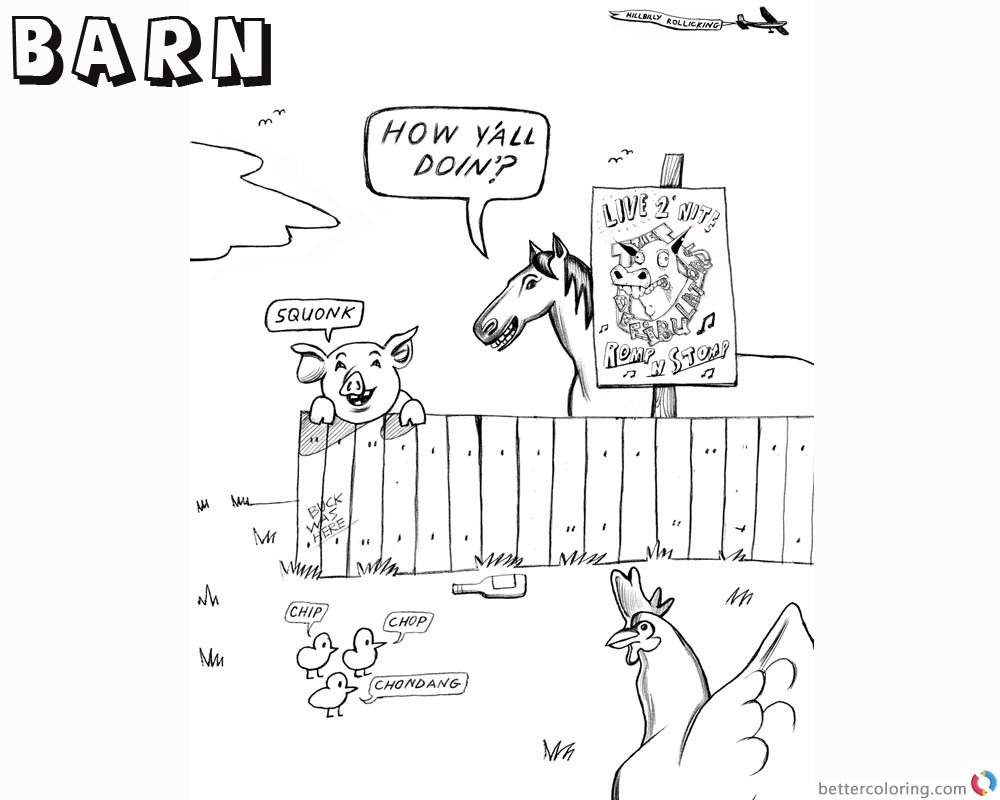 Barn Coloring Pages Cartoon farm animals - Free Printable Coloring Pages