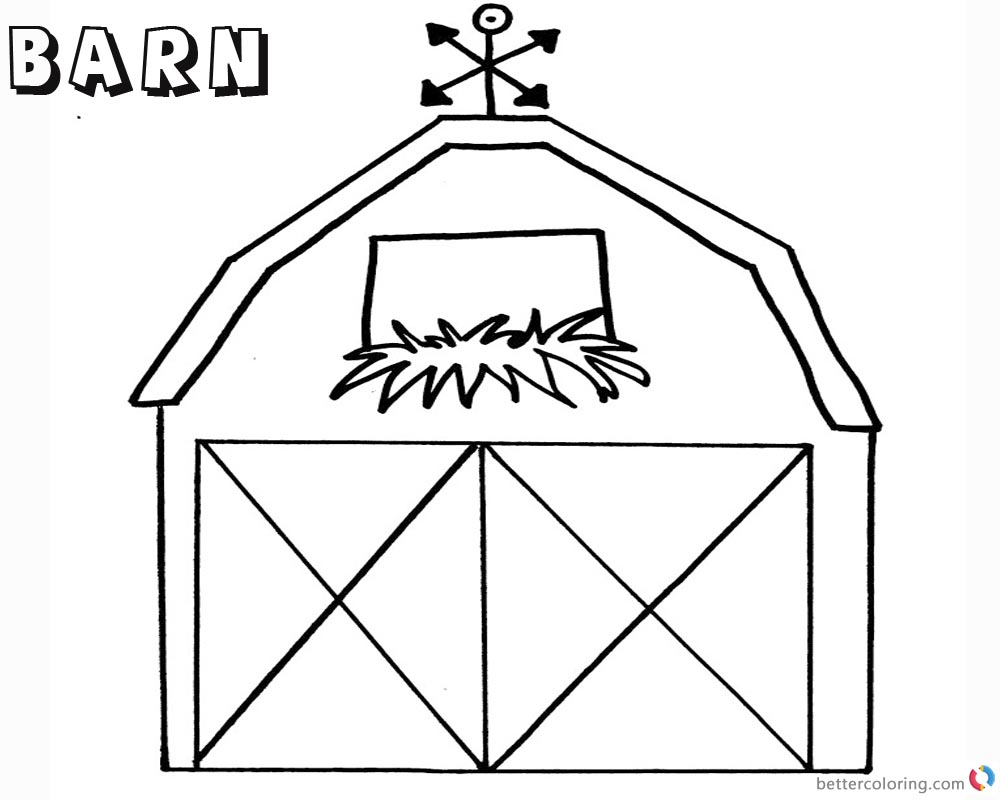 Barn Coloring Pages Flowers in the window - Free Printable Coloring ...