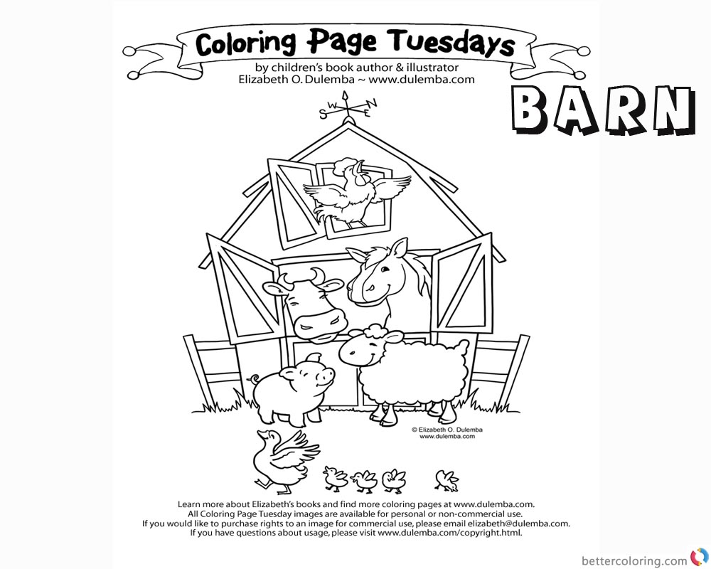Barn Coloring Pages Many animals in the barn printable