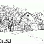 Barn Coloring Pages Realistic barn drawing
