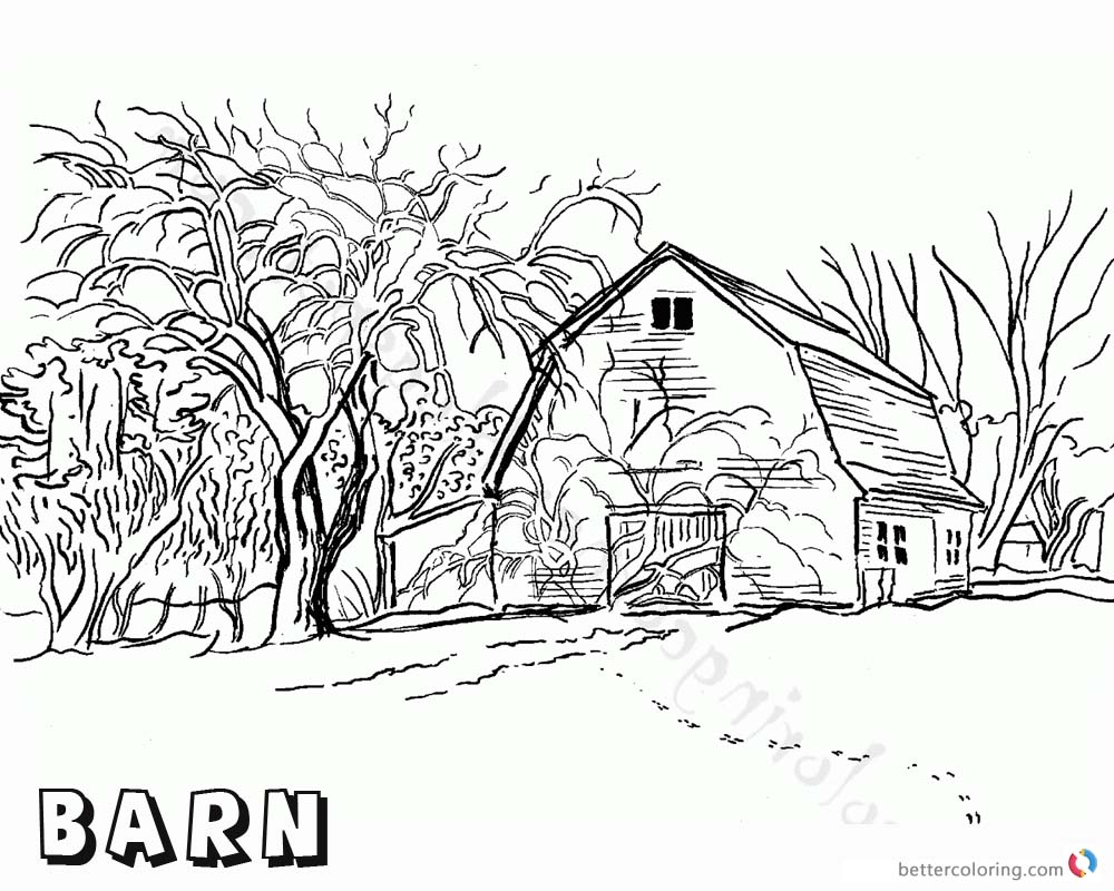 Barn Coloring Pages Realistic barn drawing printable