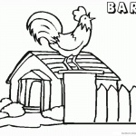 Barn Coloring Pages Rooster crowing