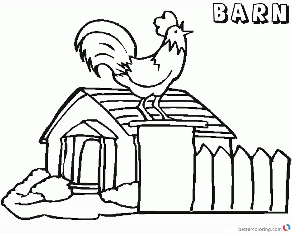 Barn Coloring Pages Rooster crowing printable
