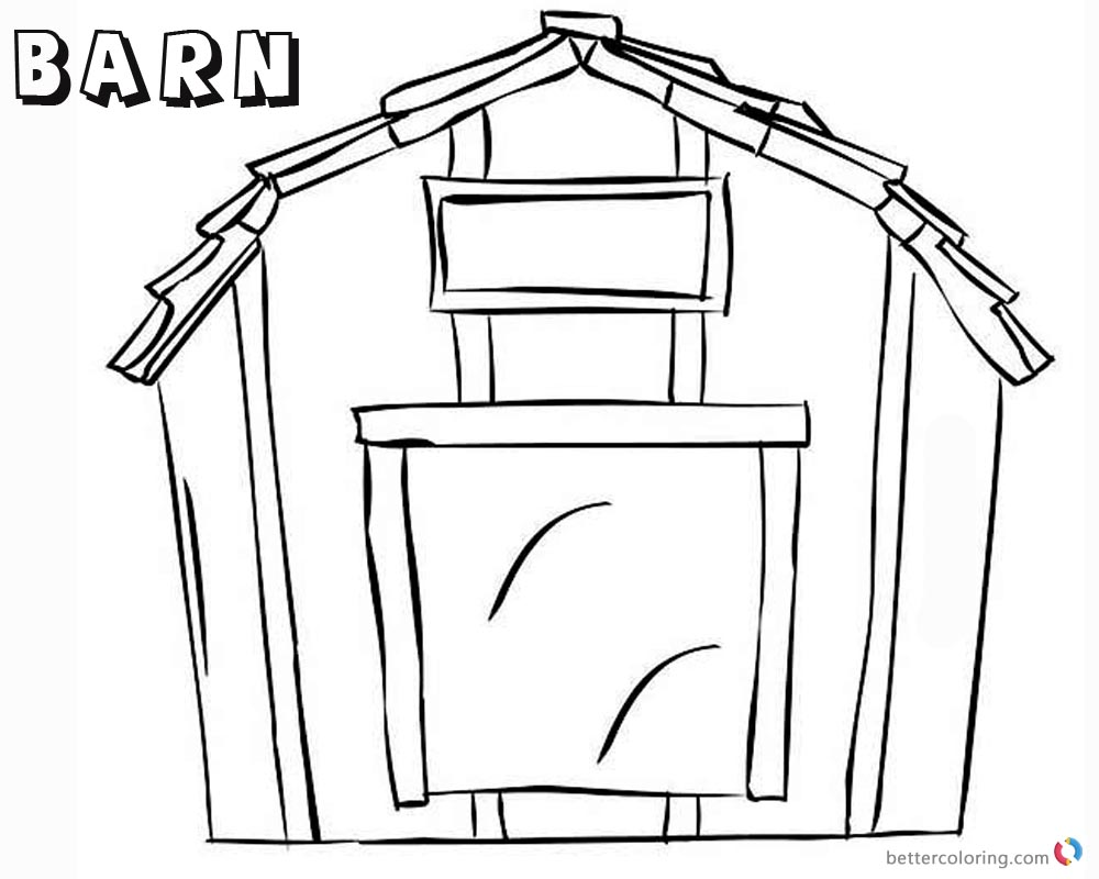 Barn Coloring Pages Simple sketch printable
