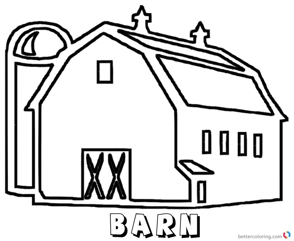 barn coloring pages a large barn printable - Barn Coloring Pages Free