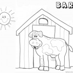 Barn Coloring Pages barn and cow