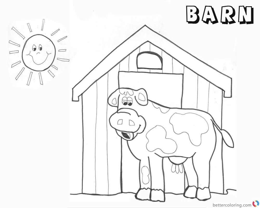 Barn Coloring Pages barn and cow - Free Printable Coloring Pages