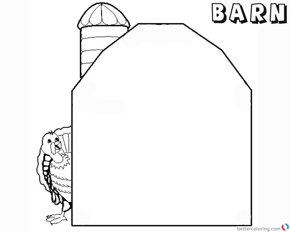 Barn Coloring Pages barn and turkey printable
