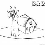 Barn Coloring Pages barn and windmill
