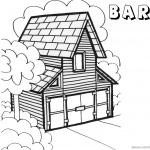 Barn Coloring Pages barn in woods