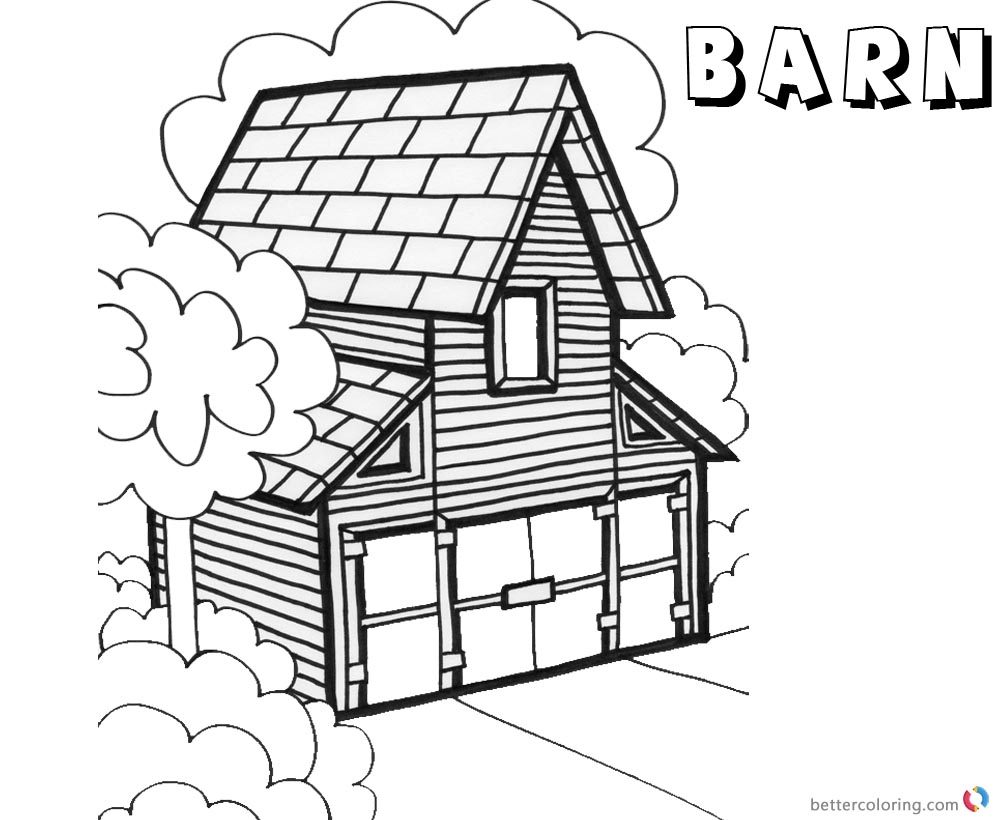 Barn Coloring Pages barn in woods printable