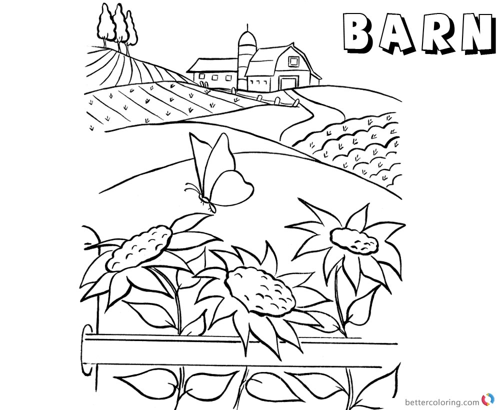 Barn Coloring Pages Barn On The Hills