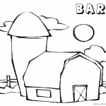Barn Coloring Pages barn sun and cloud