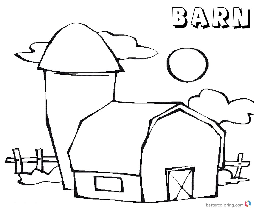 Barn Coloring Pages barn sun and cloud - Free Printable Coloring Pages