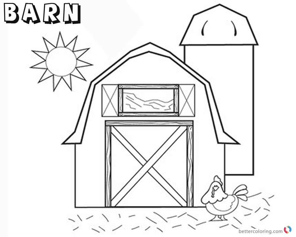 Barn Coloring Pages Barn With Chicken And Sun