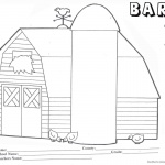 Barn Coloring Pages barn with three chicks worksheet