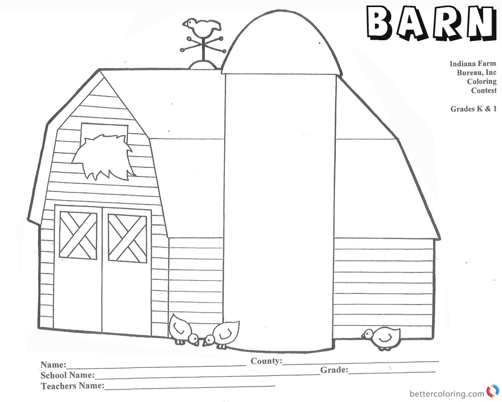 Barn Coloring Pages barn with three chicks worksheet printable