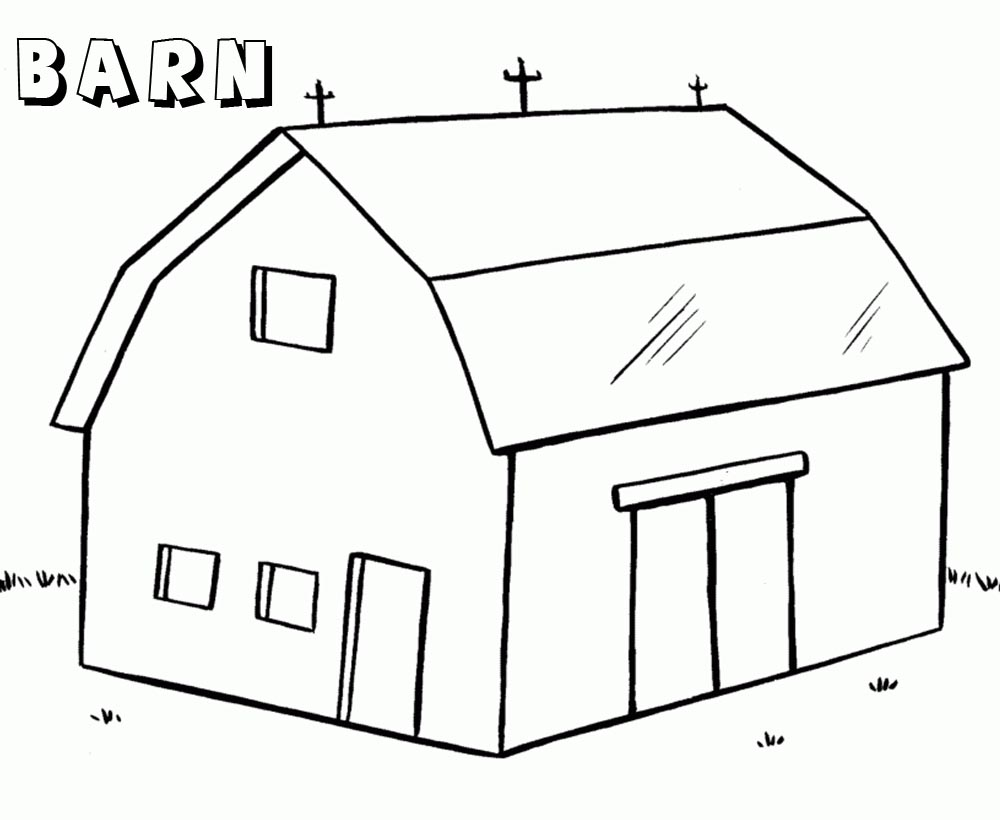 barn coloring pages barn with two doors printable