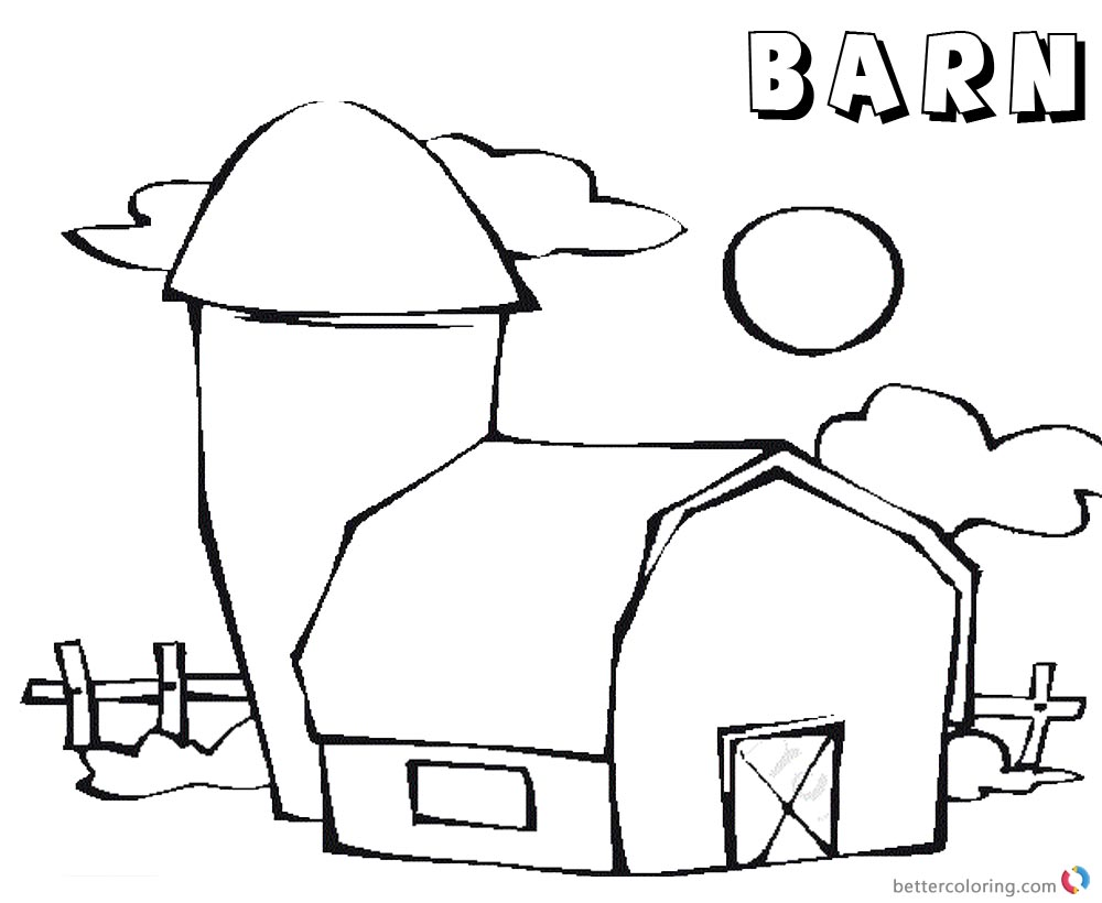 Barn Coloring Pages cute barn picture printable
