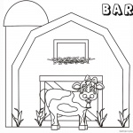Barn Coloring Pages cute cow