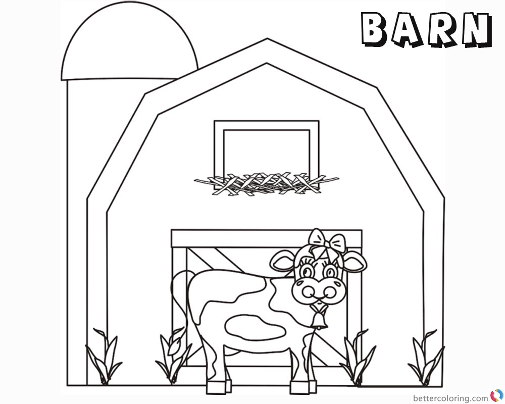 Barn Coloring Pages cute cow printable