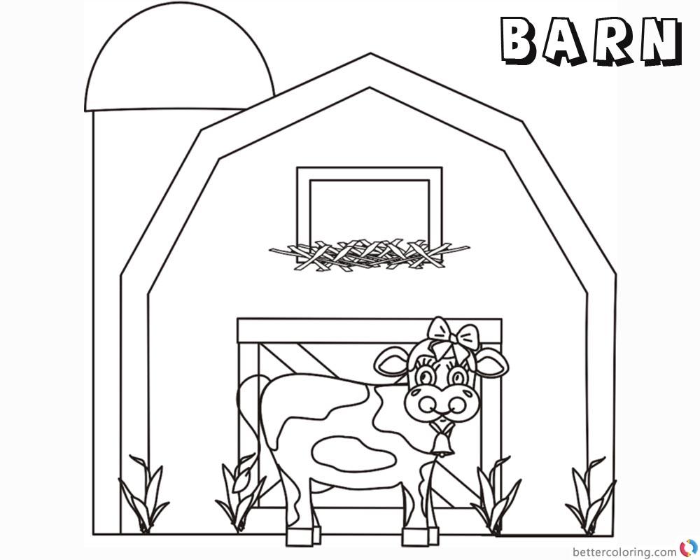 free printable barn coloring pages - barn coloring pages cute cow free printable coloring pages