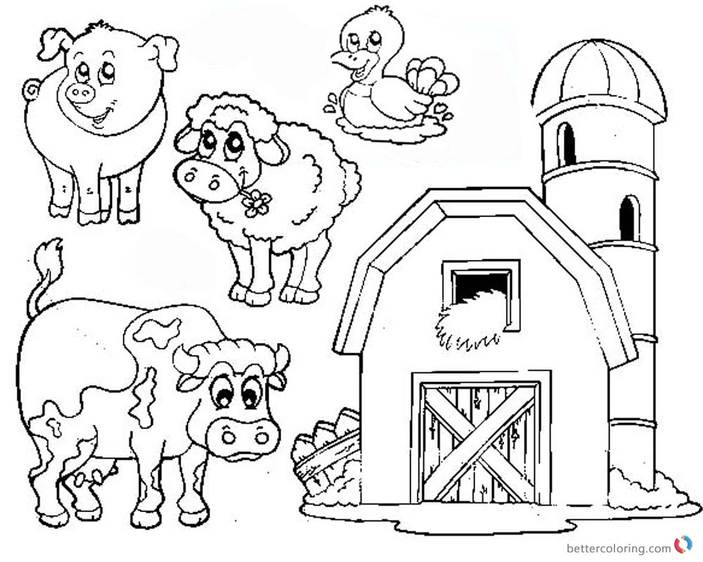 Barn Coloring Pages farm animals - Free Printable Coloring Pages