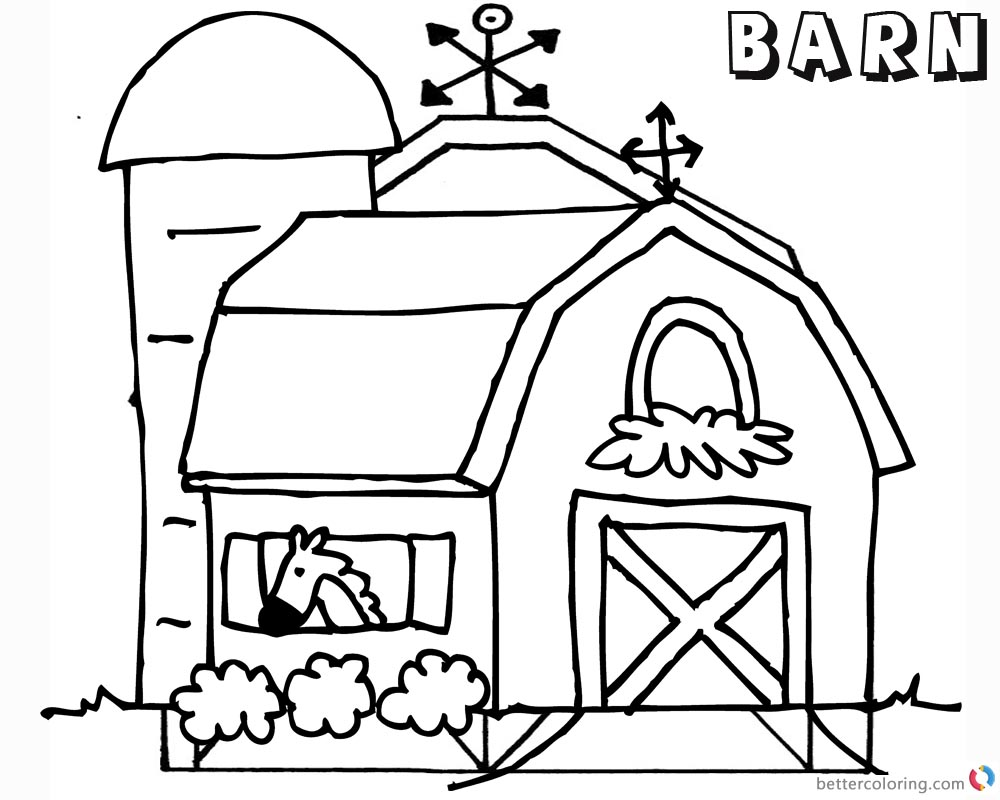 Barn Coloring Pages horse in the barn - Free Printable Coloring Pages