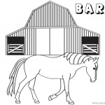 Barn Coloring Pages horse walking out of barn