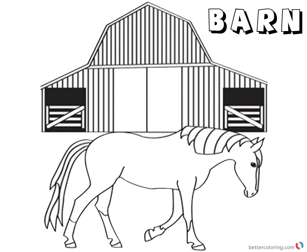 Barn Coloring Pages horse walking out of barn printable