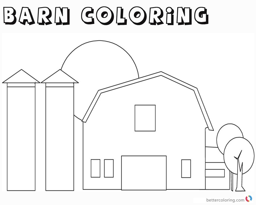 Barn Coloring Pages outline coloring printable