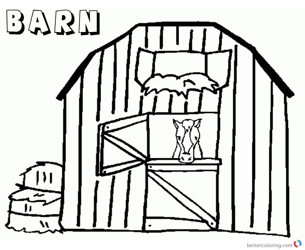 Barn Coloring Pages sad horse printable