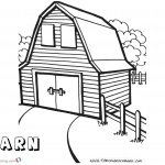 Barn Coloring Pages square barn with two windows