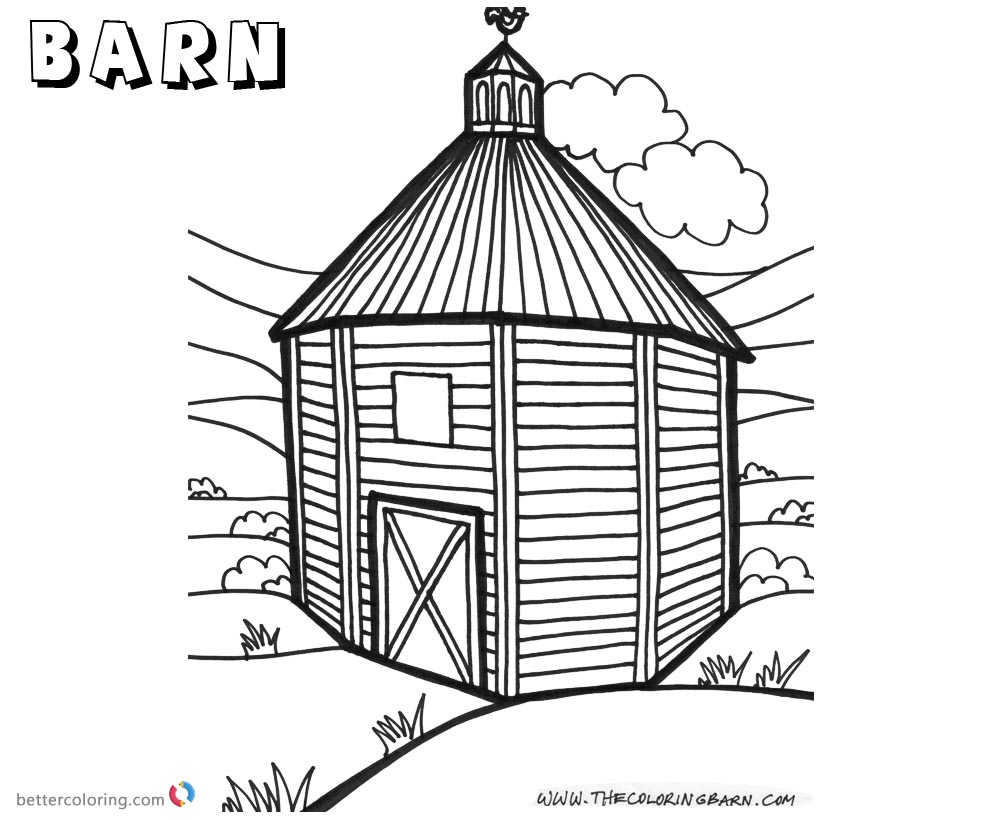 Barn Coloring Pages Tall Barn With A Door And A Window