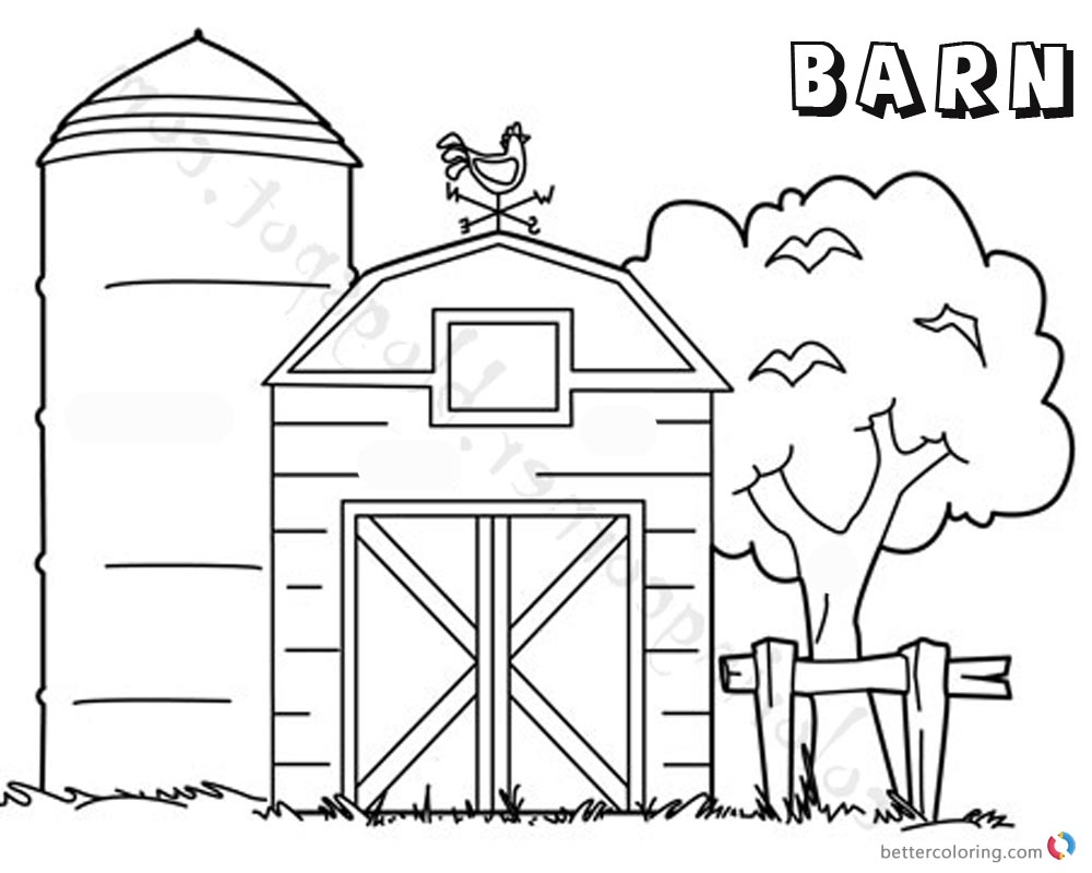 Barn coloring pages tree by the barn free printable for Barn animals coloring pages