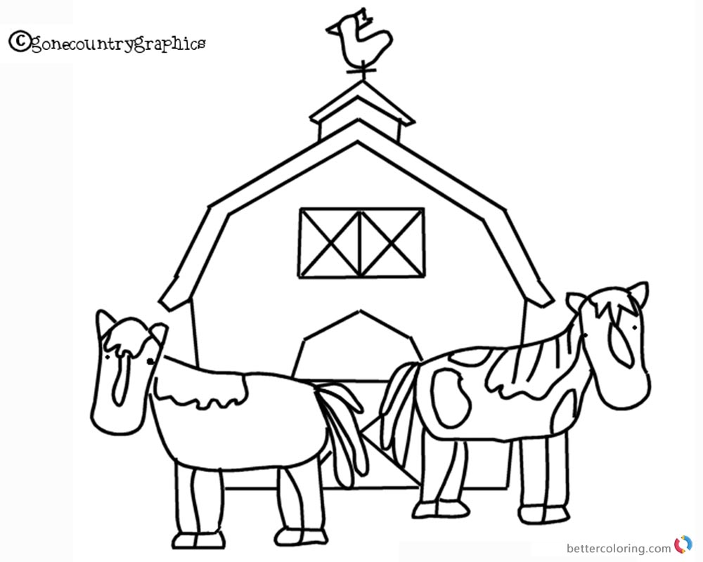 Barn Coloring Pages two horse and