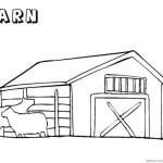 Barn Coloring Pages with two cows