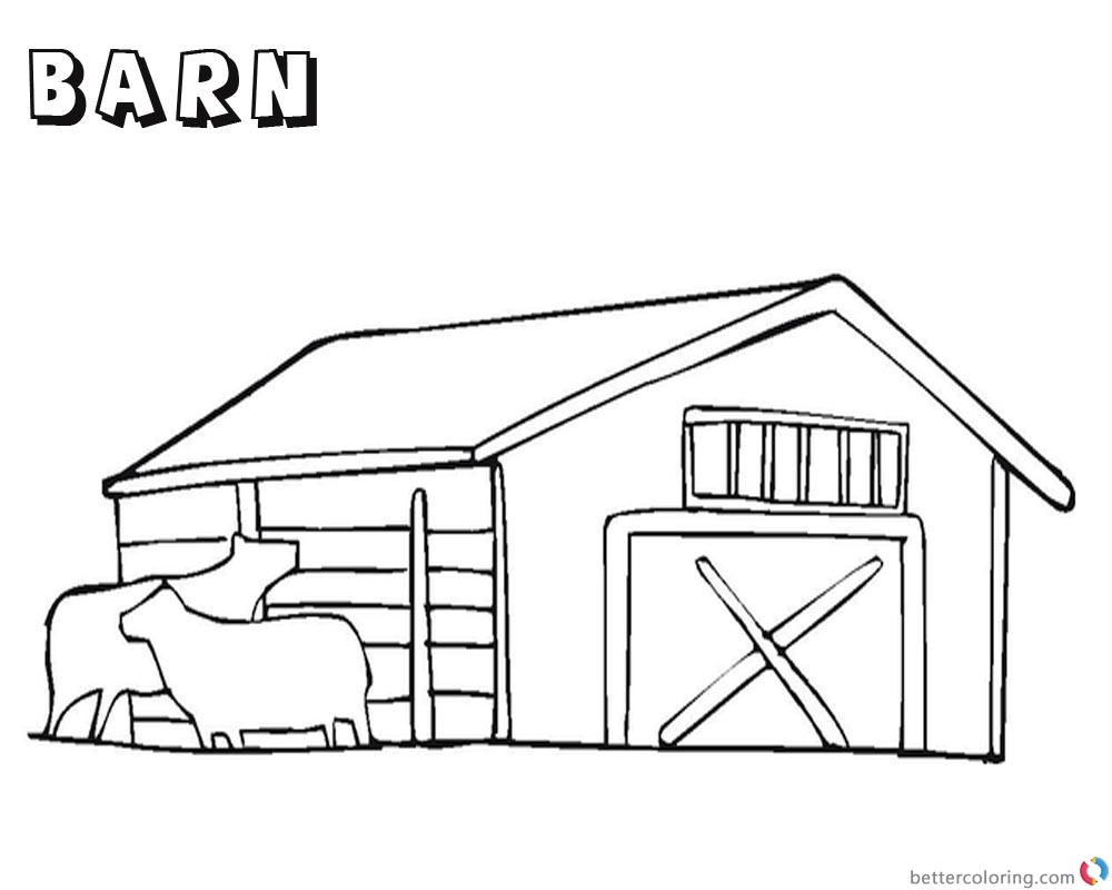 Barn Coloring Pages with two cows printable