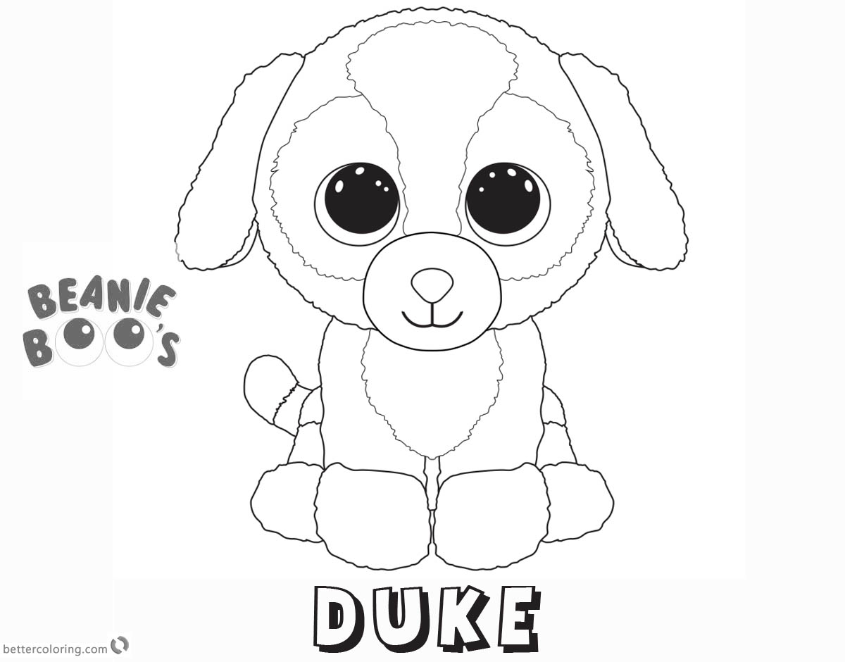 Free Beanie Boo Coloring Pages dog duke Printable