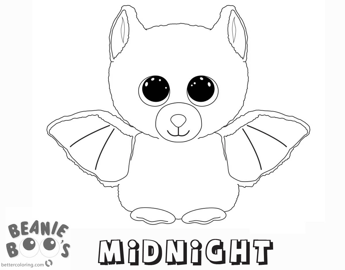 Free Beanie Boo Coloring Pages midnight Printable