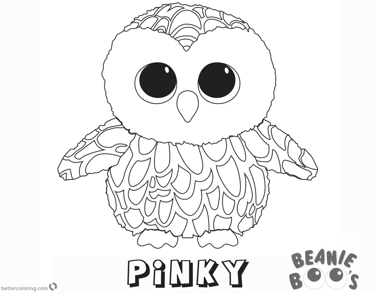Beanie Boo Coloring pages Owl Pinky Free Printable Coloring Pages