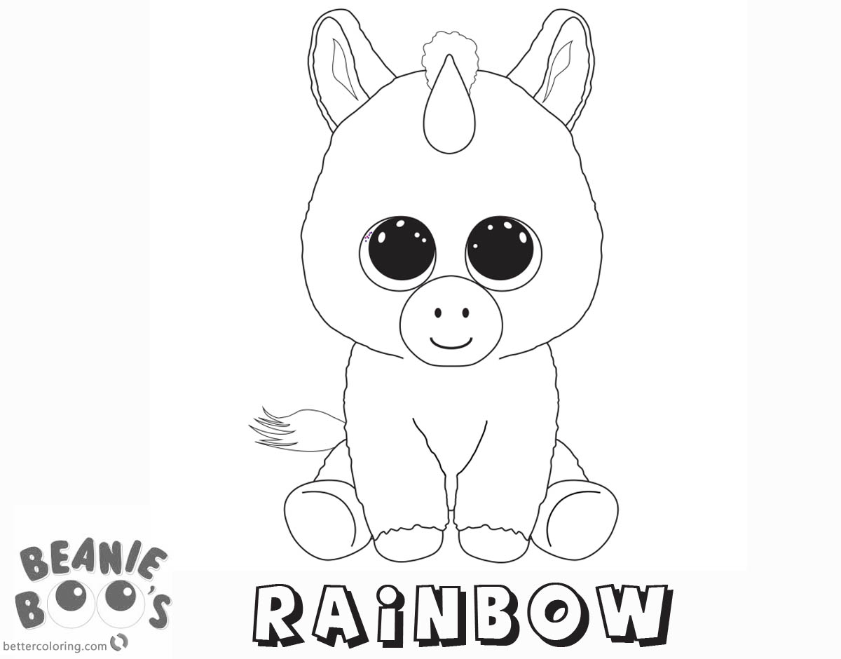 Beanie Boo Coloring pages Unicorn Rainbow Free Printable