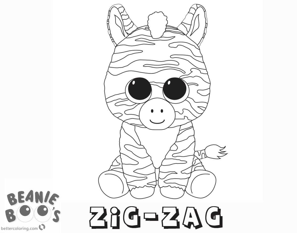Free Beanie Boo Coloring Pages zig-zag Printable