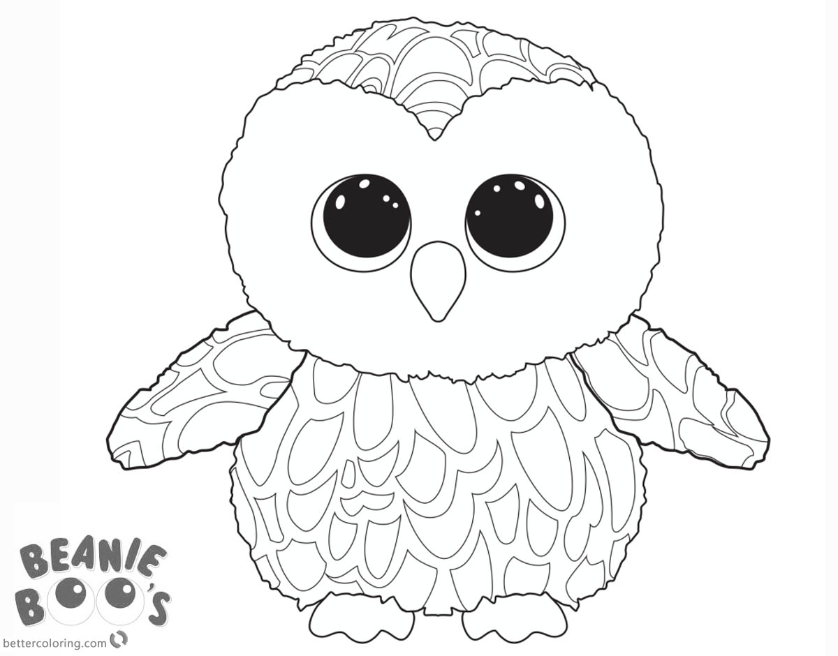 Free Beanie Boo Owl Coloring Pages Printable